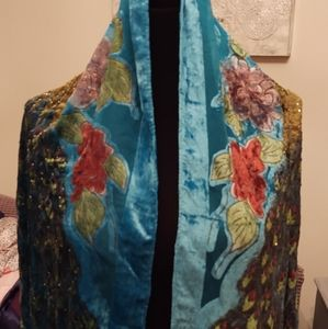 Turquoise beaded/embroidered Peacock shawl/Scay